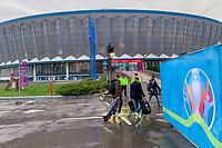 Eingang zum Veranstaltungsort Romexpo - 30.11.2019: UEFA EURO2020 Auslosung, Romexpo Bukarest, DISCLAIMER: UEFA regulations prohibit any use of photographs as image sequences and/or quasi-video.