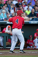 Justin Behnke #4 of the Arizona Wildcats bats during a College World Series Finals game between the Coastal Carolina Chanticleers and Arizona Wildcats at TD Ameritrade Park on June 28, 2016 in Omaha, Nebraska. (Brace Hemmelgarn/Four Seam Images)