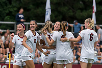 NEWTON, MA - AUGUST 29: Ella Richards #22 of Boston College celebrates her goal with teammates during a game between University of Connecticut and Boston College at Newton Campus Soccer Field on August 29, 2021 in Newton, Massachusetts.