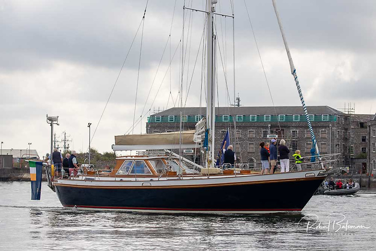 The Clayton Love skippered Golden Apple led the parade of sail. This was the the former Coveney family ketch Golden Apple that sailed round the world on an 18-month voyage to raise funds for the Cork-based Chernobyl Children's Project.