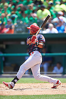 Peoria Chiefs third baseman Leobaldo Pina (4) at bat during the first game of a doubleheader against the South Bend Cubs on July 25, 2016 at Four Winds Field in South Bend, Indiana.  South Bend defeated Peoria 9-8.  (Mike Janes/Four Seam Images)