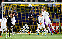 CARSON, CA - SEPTEMBER 06: Bradley Wright-Phillips #66 of LAFC and  Nicholas DePuy #20 of the Los Angeles Galaxy battle for a ball in the box during a game between Los Angeles FC and Los Angeles Galaxy at Dignity Health Sports Park on September 06, 2020 in Carson, California.