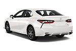 Car pictures of rear three quarter view of 2021 Toyota Camry SE 4 Door Sedan Angular Rear