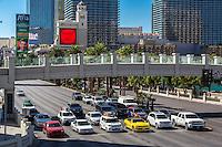 Las Vegas, Nevada.  Pedestrian Overpass on The Strip, Las Vegas Boulevard.