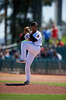 Inland Empire 66ers relief pitcher Erik Manoah, Jr. (22) during a California League game against the Modesto Nuts on April 10, 2019 at San Manuel Stadium in San Bernardino, California. Inland Empire defeated Modesto 5-4 in 13 innings. (Zachary Lucy/Four Seam Images)