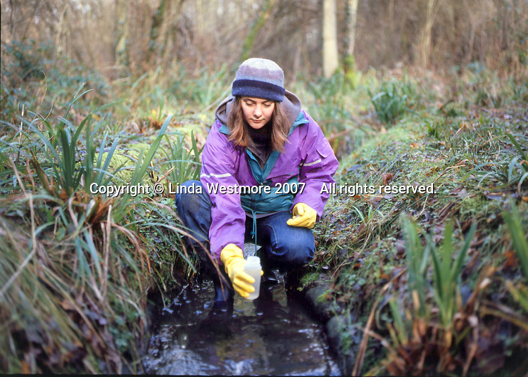 University student on work placement monitoring water condition in a stream.