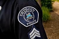 A Detroit police badge is seen in Detroit (Mi) Saturday June 8, 2013.