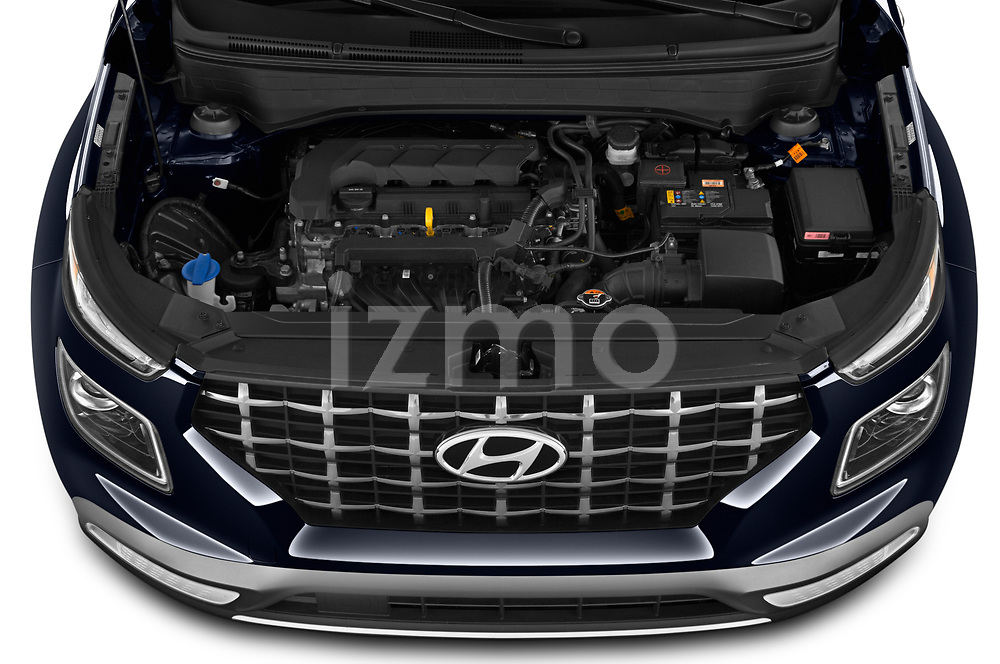 Car Stock 2020 Hyundai Venue Denim 5 Door SUV Engine  high angle detail view