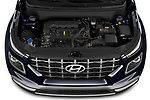 Car Stock 2020 Hyundai Venue Denim 5 Door SUV Engine  high angle detail view