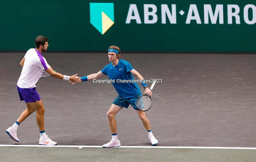 Rotterdam, The Netherlands, 4 march  2021, ABNAMRO World Tennis Tournament, Ahoy, Second round doubbles: Karen Khachanov (RUS) / Andrey Rubelv (RUS). <br /> Photo: www.tennisimages.com/