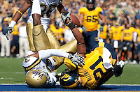Keenan Allen presents the ball after making a tough catch for the touchdown against Rahim Moore. The California Golden Bears defeated the UCLA Bruins 35-7 at Memorial Stadium in Berkeley, California on October 9th, 2010.