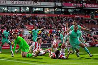 11th September 2021;  Bet365 Stadium, Stoke, Staffordshire, England; EFL Championship football, Stoke City versus Huddersfield Town; Harry Toffolo of Huddersfield Town celebrates his 46th miunute goal