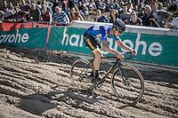 race leader & U23 European CX Champion Quinten Hermans (BEL/U23/Telenet-Fidea) during the descent into 'The Pit'<br /> <br /> U23 race<br /> CX Superprestige Zonhoven 2016