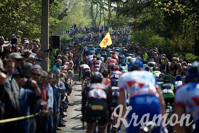 peloton up the crowded,   infamous Mur de Huy (1300m/9.8%)<br /> <br /> 79th Flèche Wallonne 2015