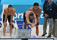 July 29, 2012..Ryan Lochte of the USA pushes off the starting block to swim the anchor leg of men's 4x100m freestyle relay at the Aquatics Center on day two of 2012 Olympic Games in London, United Kingdom.