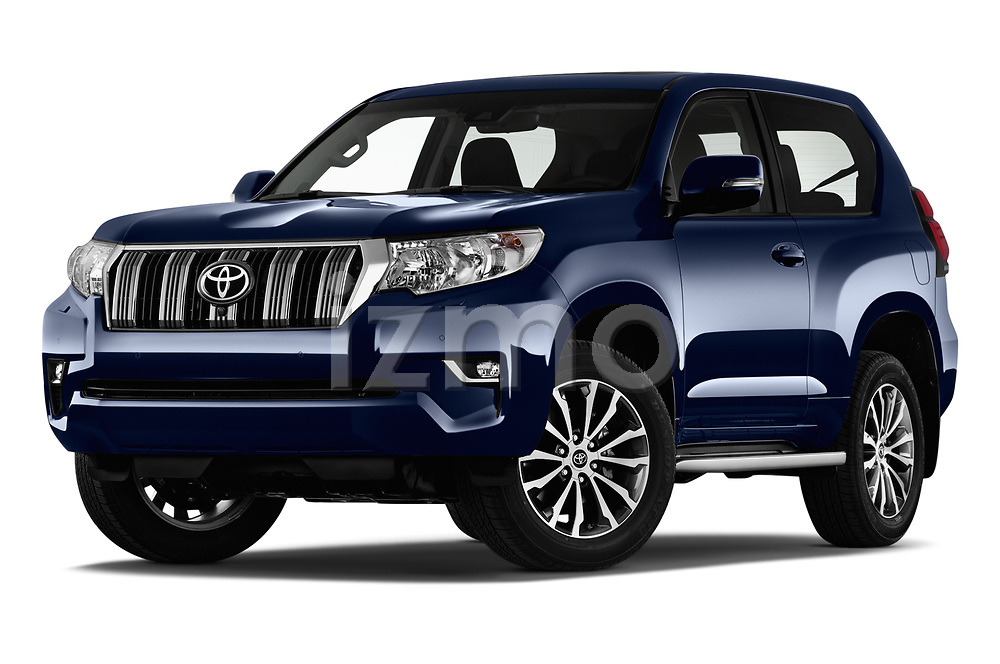 Stock pictures of low aggressive front three quarter view of 2018 Toyota Land-Cruiser-150 Style 3 Door SUV Low Aggressive