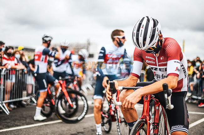 LAtvian Champion Tom Skujins (LAT) Trek-Segafredo at sign on before Stage 18 of the 2021 Tour de France, running 129.7km from Pau to Luz Ardiden, France. 15th July 2021.  <br /> Picture: A.S.O./Charly Lopez   Cyclefile<br /> <br /> All photos usage must carry mandatory copyright credit (© Cyclefile   A.S.O./Charly Lopez)