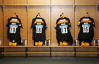 Photo: Richard Lane/Richard Lane Photography. Wasps v London Irish. Aviva Premiership. 21/12/2014. Wasps' first game at the Ricoh Arena as their new home. Wasps shirts.