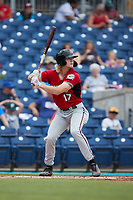 Joey Wiemer (17) of the Carolina Mudcats at bat against the Kannapolis Cannon Ballers at Atrium Health Ballpark on July 18, 2021 in Kannapolis, North Carolina. (Brian Westerholt/Four Seam Images)