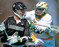 3 April 2010: University of Vermont Catamounts' Midfielder Ryan Gillette, a Senior from Lowville, NY, in action against the Binghamton University Bearcats at Moulton Winder Field in Burlington, Vermont. The Catamounts defeated the visiting Bearcats 11-8 in Vermont's opening home game of the 2010 season. Mandatory Credit: Ed Wolfstein Photo