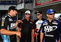 Sept. 25, 2011; Ennis, TX, USA: NHRA funny car drivers (left to right), Matt Hagan , Mike Neff , Bob Tasca III and Robert Hight during the Fall Nationals at the Texas Motorplex. Mandatory Credit: Mark J. Rebilas-
