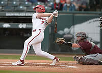Arkansas Tuesday, April 6, 2021, during the inning of play against UALR at Baum-Walker Stadium in Fayetteville. Visit nwaonline.com/210407Daily/ for today's photo gallery. <br /> (NWA Democrat-Gazette/Andy Shupe)