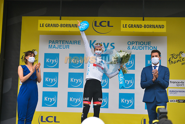 Tadej Pogacar (SLO) UAE Team Emirates retains the young riders White Jersey at the end of Stage 8 of the 2021 Tour de France, running 150.8km from Oyonnax to Le Grand-Bornand, France. 3rd July 2021.  <br /> Picture: A.S.O./Charly Lopez   Cyclefile<br /> <br /> All photos usage must carry mandatory copyright credit (© Cyclefile   A.S.O./Charly Lopez)