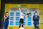 Tadej Pogacar (SLO) UAE Team Emirates retains the young riders White Jersey at the end of Stage 8 of the 2021 Tour de France, running 150.8km from Oyonnax to Le Grand-Bornand, France. 3rd July 2021.  <br /> Picture: A.S.O./Charly Lopez | Cyclefile<br /> <br /> All photos usage must carry mandatory copyright credit (© Cyclefile | A.S.O./Charly Lopez)