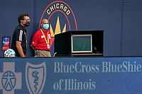 CHICAGO, UNITED STATES - AUGUST 25: A detail view of the MLS Video review monitor is seen during a game between FC Cincinnati and Chicago Fire at Soldier Field on August 25, 2020 in Chicago, Illinois.