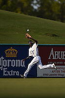 Lakeland Flying Tigers outfielder Jiwan James (8) catches a fly ball during a game against the Tampa Yankees on April 9, 2015 at Joker Marchant Stadium in Lakeland, Florida.  Tampa defeated Lakeland 2-0.  (Mike Janes/Four Seam Images)