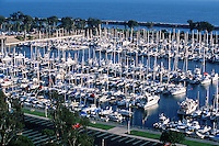 Aerial view of a seaside coastal marina on the Pacific Ocean. Dana Point, California.