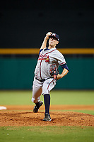 Mississippi Braves relief pitcher Chad Sobotka (36) delivers a pitch during a game against the Montgomery Biscuits on April 26, 2017 at Montgomery Riverwalk Stadium in Montgomery, Alabama.  Montgomery defeated Mississippi 5-2.  (Mike Janes/Four Seam Images)