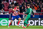 Diego Costa (L) of Atletico de Madrid fights for the ball with Maciej Rybus of FC Lokomotiv Moscow during the UEFA Europa League 2017-18 Round of 16 (1st leg) match between Atletico de Madrid and FC Lokomotiv Moscow at Wanda Metropolitano  on March 08 2018 in Madrid, Spain. Photo by Diego Souto / Power Sport Images