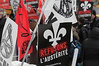 Manifestation de la CSN, contre l'austérité, 19 Janvier 2015, devant l'édifice des HEC.<br /> <br /> PHOTO : Agence Quebec Presse