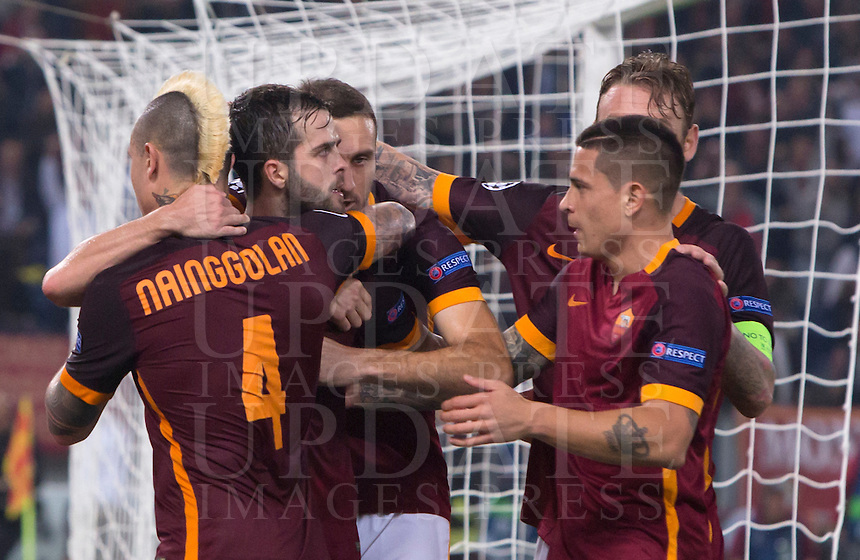Calcio, Champions League, Gruppo E: Roma vs Bayer Leverkusen. Roma, stadio Olimpico, 4 novembre 2015.<br /> Roma's Miralem Pjanic, second fro left, celebrates with teammates after scoring the winning goal on a penalty kick during a Champions League, Group E football match between Roma and Bayer Leverkusen, at Rome's Olympic stadium, 4 November 2015. Roma won 3-2.<br /> UPDATE IMAGES PRESS/Riccardo De Luca