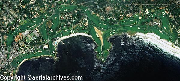aerial photo map of Pebble Beach Golf Links, Monterey County, California