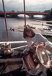 Rowing, Cambridge Boat Club, Head of the Charles Regatta,  Polishing the trophies, regatta preparation, Charles River, Cambridge, Massachusetts, New England, USA,.