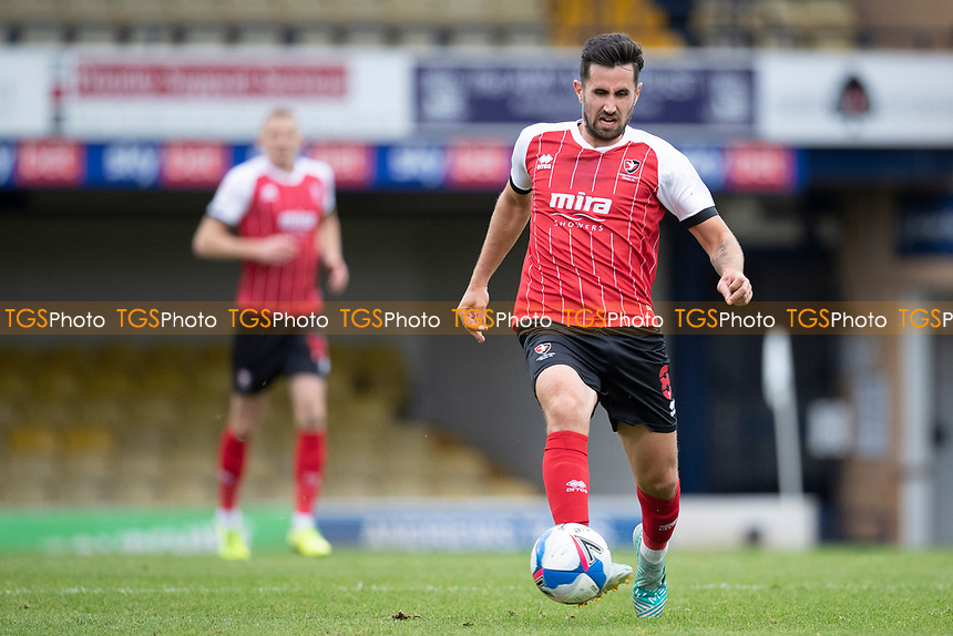 Chris Clements, Cheltenham Town lays the ball forward during Southend United vs Cheltenham Town, Sky Bet EFL League 2 Football at Roots Hall on 17th October 2020