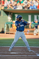 Yeison Coca (2) of the Helena Brewers bats against the Ogden Raptors at Lindquist Field on July 14, 2018 in Ogden, Utah. Ogden defeated Helena 8-6. (Stephen Smith/Four Seam Images)
