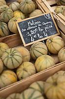 Europe/France/Midi-Pyrénées/46/Lot/Souillac: Melons du Quercy IGP sur le marché,