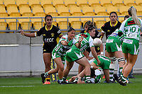 Lucy Brown of the Manawatu passes the ball during the Farah Palmer Cup Rugby – Wellington v Manawatu at Sky Stadium, Wellington, New Zealand on Friday 25 September 2020. <br /> Photo by Masanori Udagawa. <br /> www.photowellington.photoshelter.com
