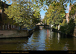 Canal Scene: Groenerei at the Uilenspiegel, Bruges, Brugge, Belgium