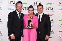Ant McPartlin, Scarlett Moffatt and Declan Donnelley<br /> in the winners room at the National TV Awards 2017 held at the O2 Arena, Greenwich, London.<br /> <br /> <br /> ©Ash Knotek  D3221  25/01/2017