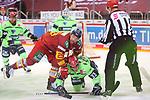 Alexander Barta (Duesseldorfer EG, Nr. 29) drueckt Tim Wohlgemuth (ERC Ingolstadt, Nr. 33) aufs Eis<br /> im Spiel der Duesseldorfer EG gegen den ERC Ingolstadt (Penny DEL, 07.04..2021)<br /> <br /> Foto © PIX-Sportfotos *** Foto ist honorarpflichtig! *** Auf Anfrage in hoeherer Qualitaet/Aufloesung. Belegexemplar erbeten. Veroeffentlichung ausschliesslich fuer journalistisch-publizistische Zwecke. For editorial use only.