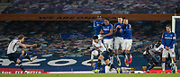 10th February 2021, Goodison Park, Liverpool, England;  Everton players defend a free-kick from Tottenham Hotspurs Harry Kane during the FA Cup 5th round match between Everton FC and Tottenham Hotspur FC at Goodison Park