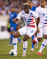 PHILADELPHIA, PA - JUNE 30: Gyasi Zardes #9 passes the ball during a game between Curacao and USMNT at Lincoln Financial Field on June 30, 2019 in Philadelphia, Pennsylvania.