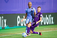 LAKE BUENA VISTA, FL - JULY 14: Heber #9 of NYCFC and Oriol Rosell #20 of Orlando City SC battle for the ball during a game between Orlando City SC and New York City FC at Wide World of Sports on July 14, 2020 in Lake Buena Vista, Florida.
