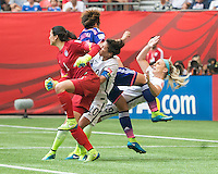 VANCOUVER, CANADA - July 5, 2015: The Woman's World Cup Finals, USA vs Japan, match at BC Place.  Final score, USA 5, Japan 2.
