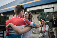 race winner Bob Jungels (LUX/Quick-Step Floors)  and girlfriend. <br /> <br /> 104th Liège - Bastogne - Liège 2018 (1.UWT)<br /> 1 Day Race: Liège - Ans (258km)