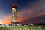 Moais of Ahu Tahai at sunset on Easter Island, Chile.